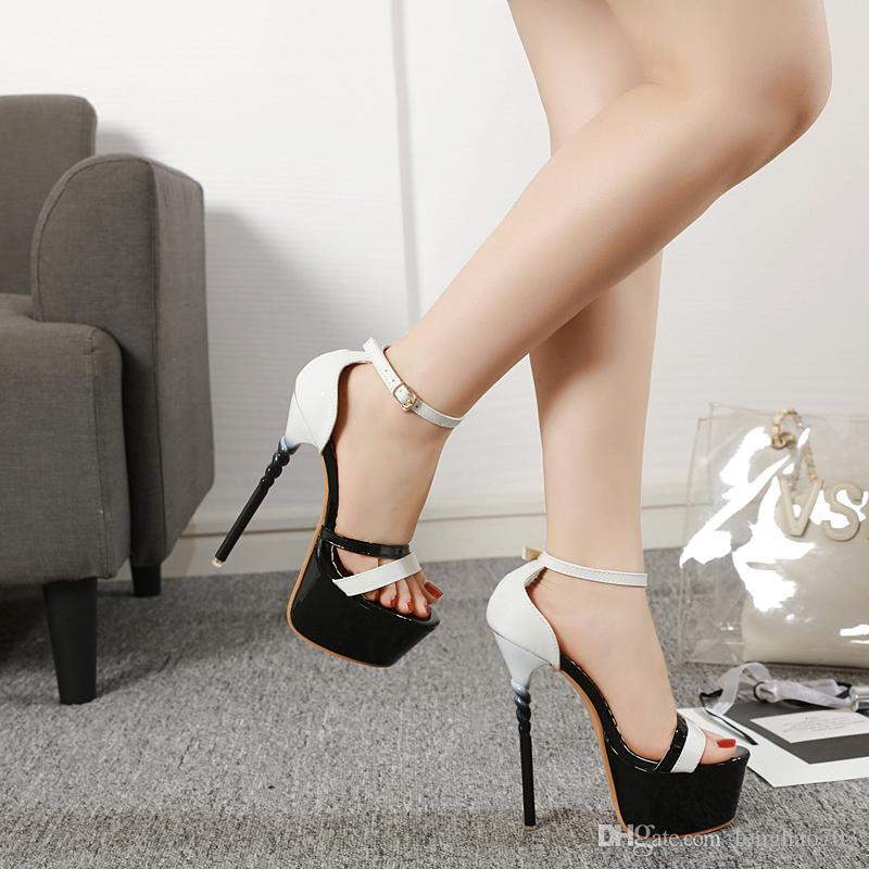 090900df114 woman shoes for summer High Heel Sandals Ladies Shoes 17cm Sexy silver  Party Platform High Heels Sandals Shoes size 35-43 YMA765