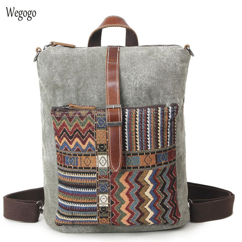 286dfb597c94 2019 New Ethnic Canvas Backpack For Women National Backpacks Leisure Travel  Rucksack Embroidery Back Bag Student School Bag Travel Backpacks Small  Backpack ...