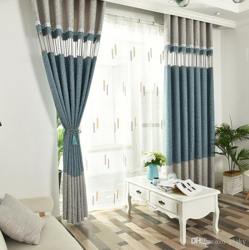 New 2019 Curtain High Quality Window Treatments High-grade chenille  jacquard stitching Curtain , living room bedroom, light curtains
