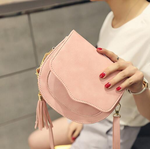 2019 Pu Leather Handbags Women's Designer Handbag High Quality Fringed Macaron Stereotypes Shoulder Bag Messenger Shell Bag