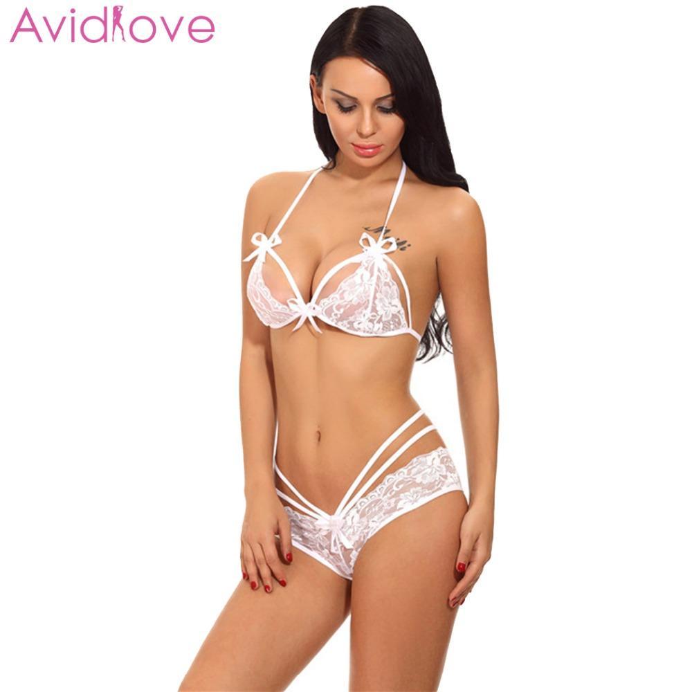 Avidlove Lingerie Sexy Bodysuit Erotic Underwear Pijamas Mulheres Sexy One Piece Lingerie Bodysuit Halter Lace Teddy Nightwear