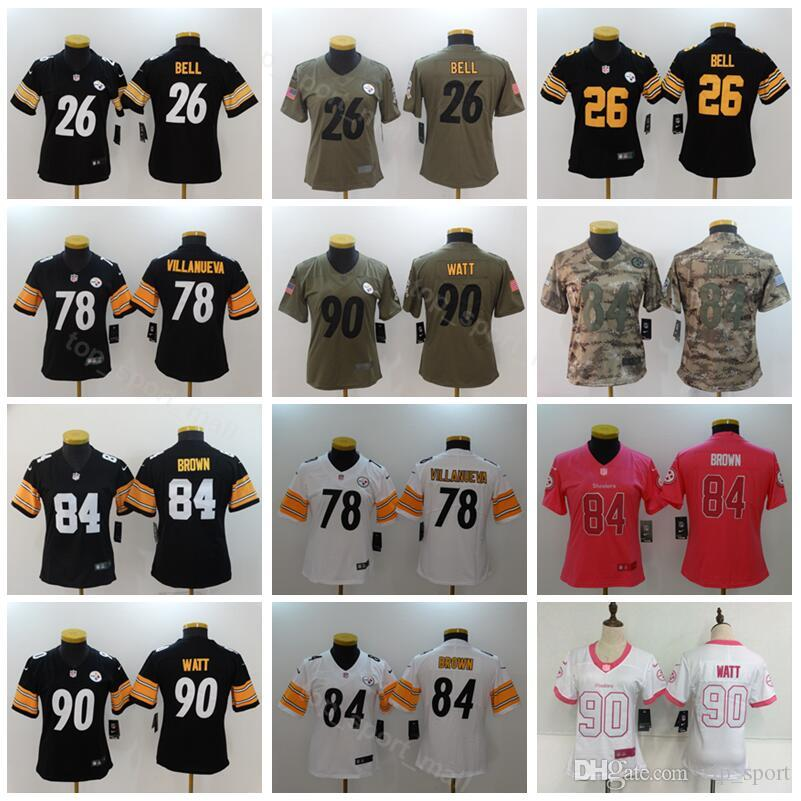 premium selection 8b7c0 9693c Pittsburgh Women Jersey Football Steelers Lady 90 T.J TJ Watt 78 Alejandro  Villanueva Black White Woman Color Stitched Good