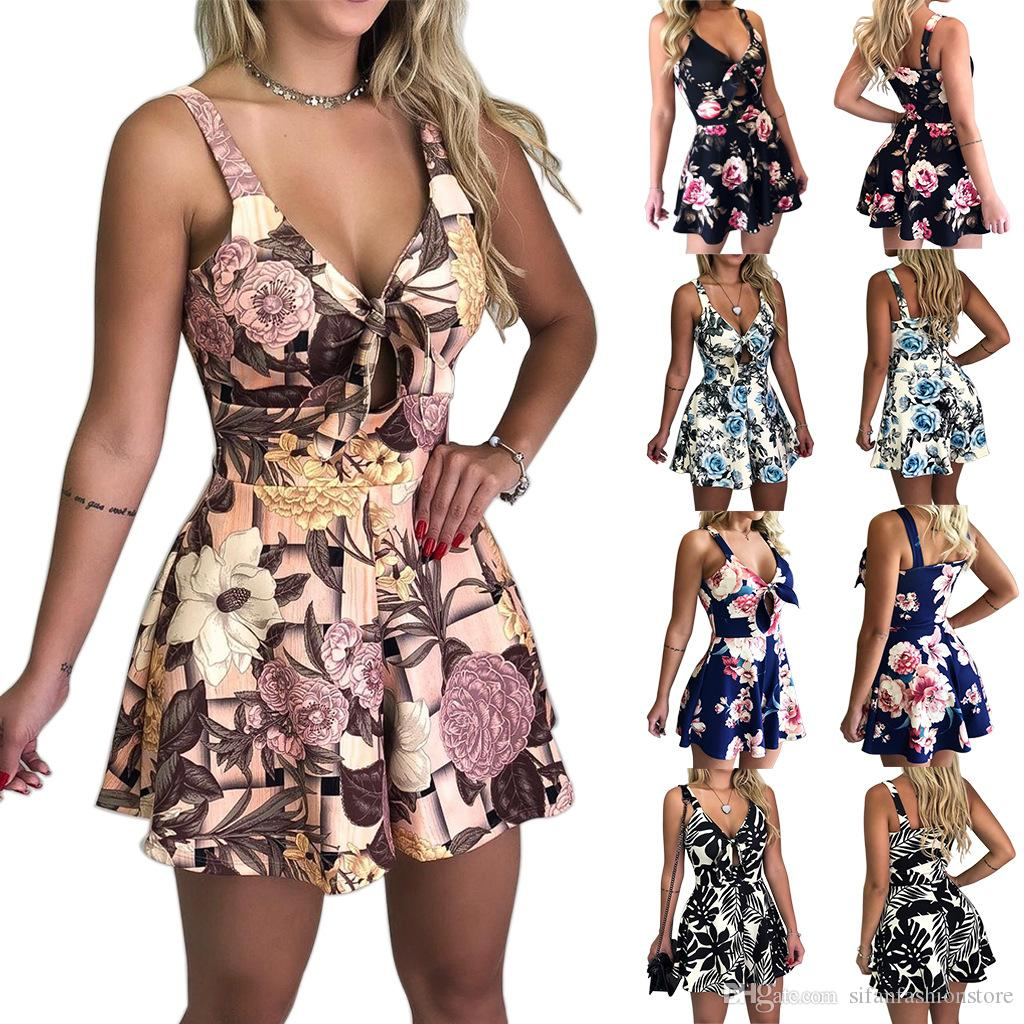 2019 Summer Womens Straps Chest Bow Tie Printed Loose Romper Dress Jumpsuit Shorts Off Shoulder Slim Beauty Beach Dress