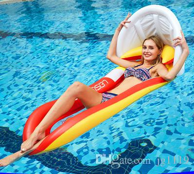 Floating hammocks European and American swimming pools play water inflatable floating row new awning with net recliner