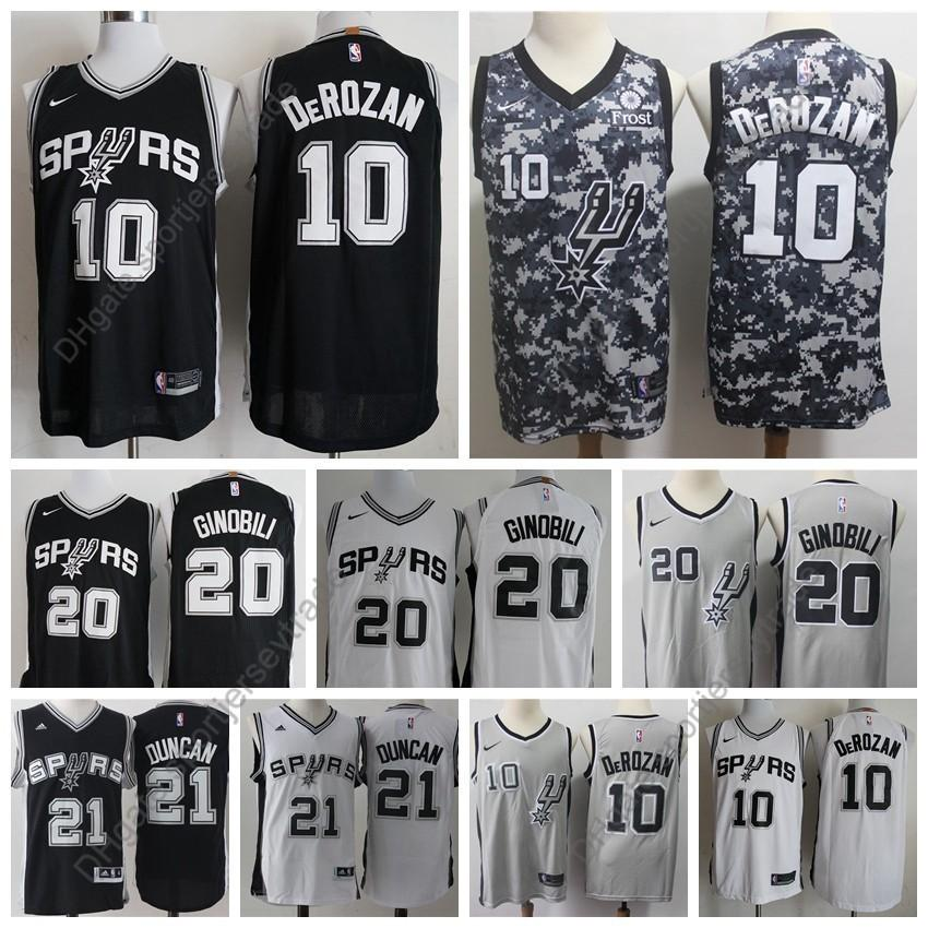 premium selection 7163a 12435 2019 Earned Mens #10 San Antonios DeMar DeRozan Manu Ginobili Spurs Edition  Basketball Jerseys City Vintage Tim Duncan David Robinson S-XXXL