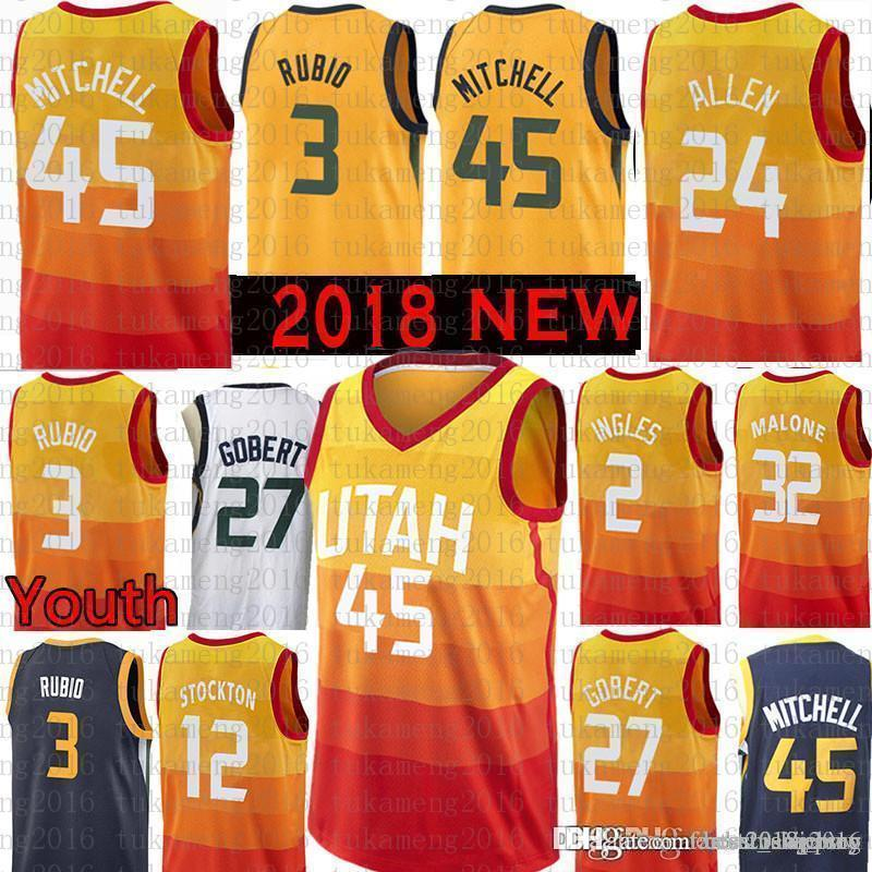 best service 31de2 daa5c Youth Men Utah 45 Donovan Mitchell 3 Ricky Rubio Jazzs Jersey 27 Rudy  Gobert 2 Joe Ingles 32 Karl Malone 12 John Stockton 24 Grayson Allen