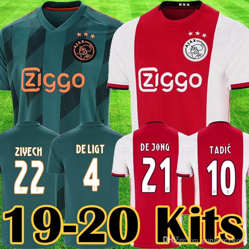 2019 2020 Ajax FC champions league Soccer Jerseys Ajax away Shirts 2019 TADIC ZIYECH DE JONG football kit Kids Youth football Uniform tops