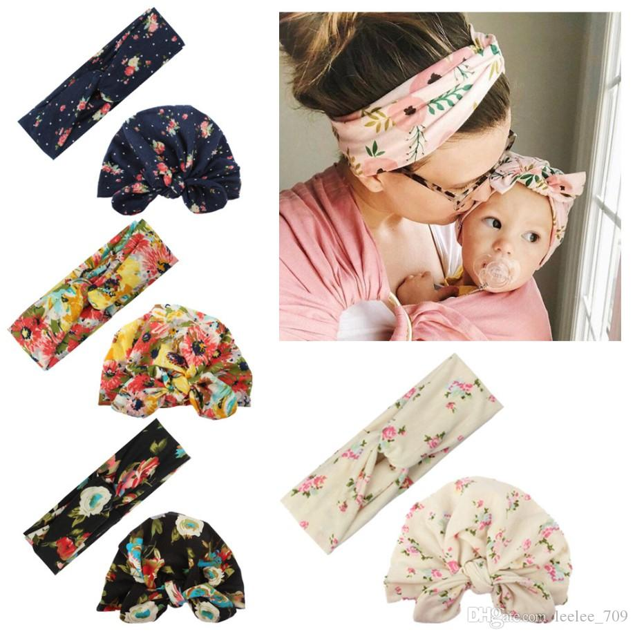 2019 New 2Pcs Womens&Kids Girls Baby Beanie Hat Bow Flower Fitted Cap Cute Lovely Hair Band Accessories Headwear Wholesale Hot