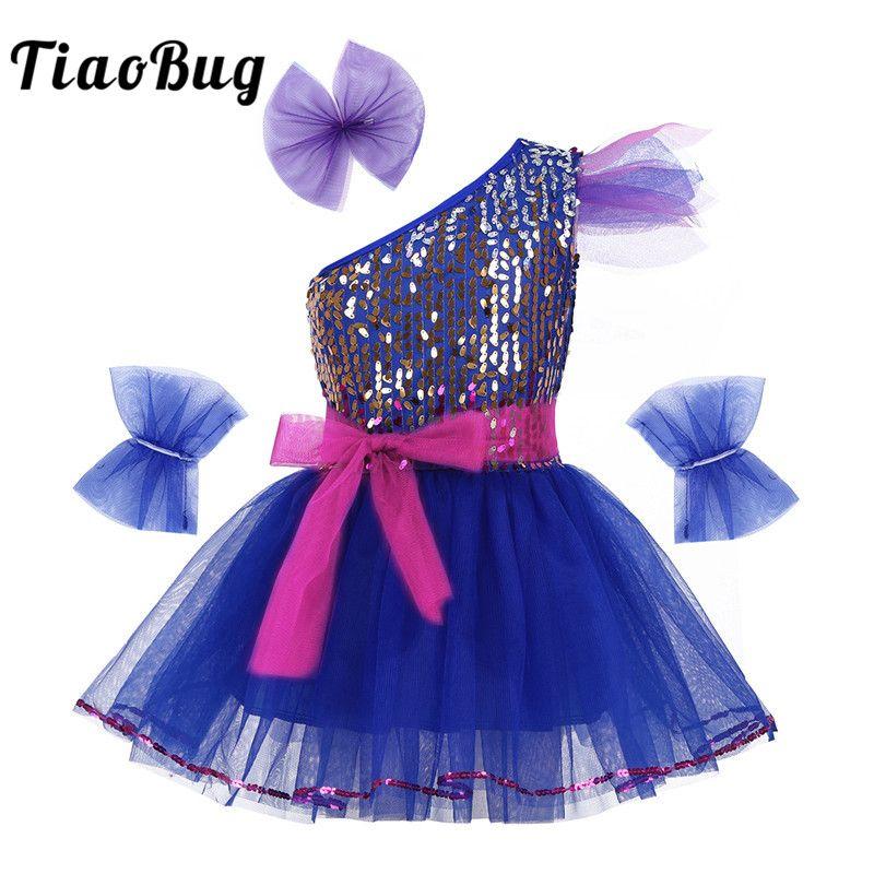 2019 TiaoBug Kids Teens One Shoulder Sequined Ballerina Dance Wear Ballet  Tutu Mesh Dress Set Girls Lyrical Stage Jazz Dance Costume From  Finebeautyone ce382ce6a66a