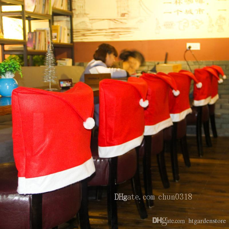 03837be7f13b7 Removable Santa Red Hat Chair Covers Christmas Decorations Dinner Chair  Xmas Cap Sets Folding Hotel Chair Covering Christmas Decor Sales Christmas  Decor ...