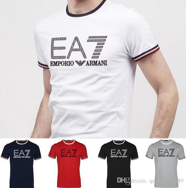 fca8a0bc6 Compre 2019 Top Quality Plus Size Homens T Shirts Número 7 Famosa Marca De  Jeans Homens De Manga Curta T Camisa GRANDE LOGOTIPO Homens De Algodão Tops  De ...