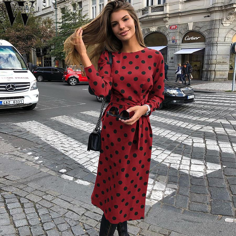 WYHHCJ 2018 Autumn/Winter Sleeve Dress Women Fashion Dot A-Line Sashes Long Sleeve O-Neck Casual Mid-Calf Dresses Vestidos