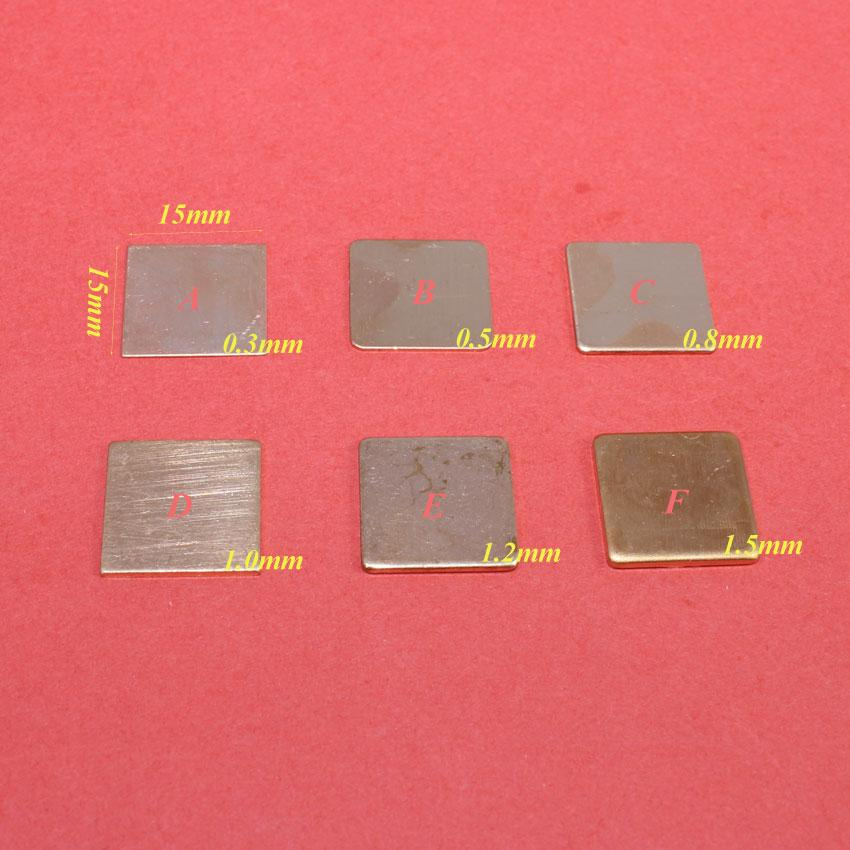 ChengHaoRan 15x15x0 3/0 5/0 8/1 0/1 2/1 5mm DIY Copper Shim Thermal Pad  Heatsink Sheet For Laptop GPU CPU VGA Chip RAM cooling