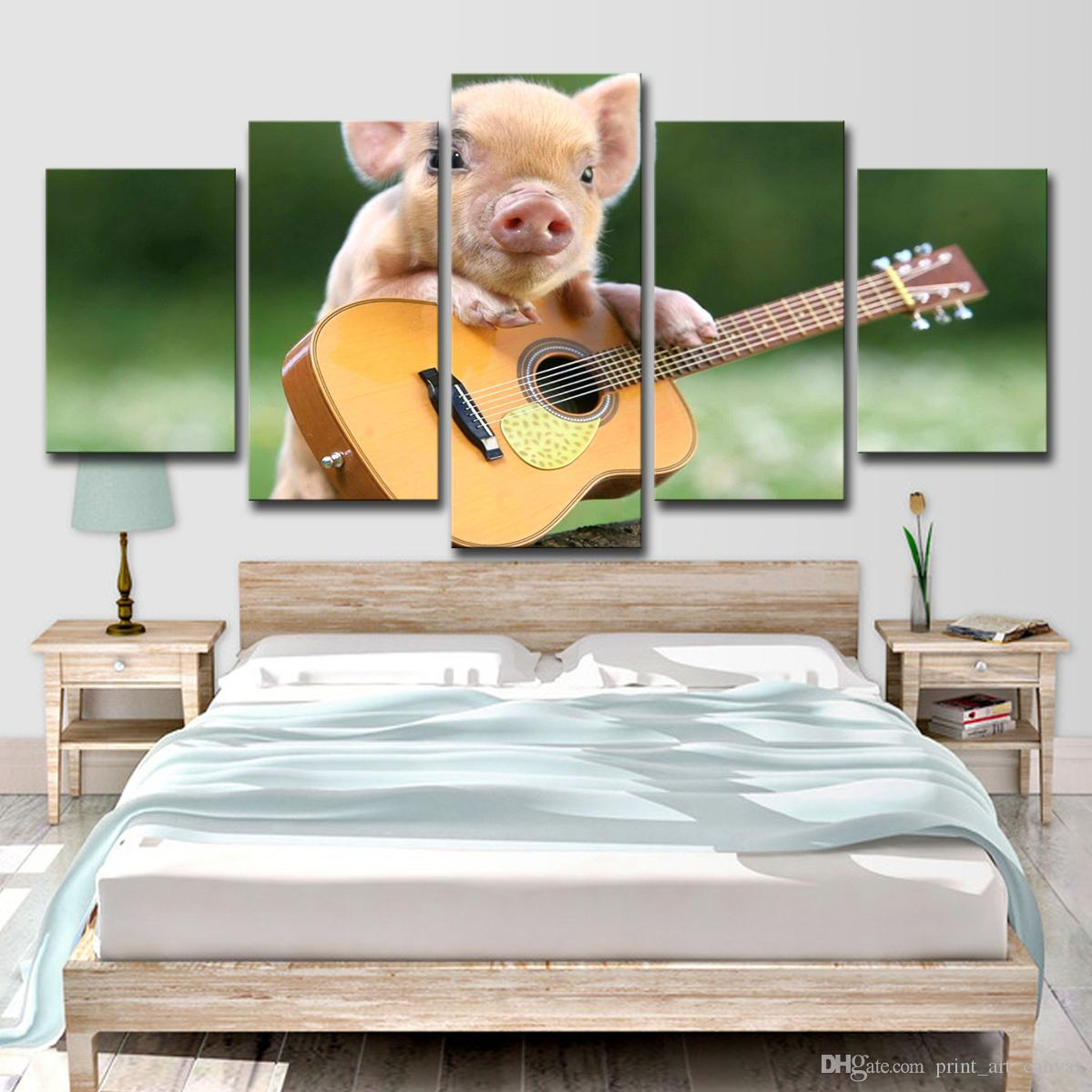 Canvas Paintings Wall Art Home Decor 5 Pieces Baby Pig Playing Guitar  Poster Living Room HD Prints Animal Pictures