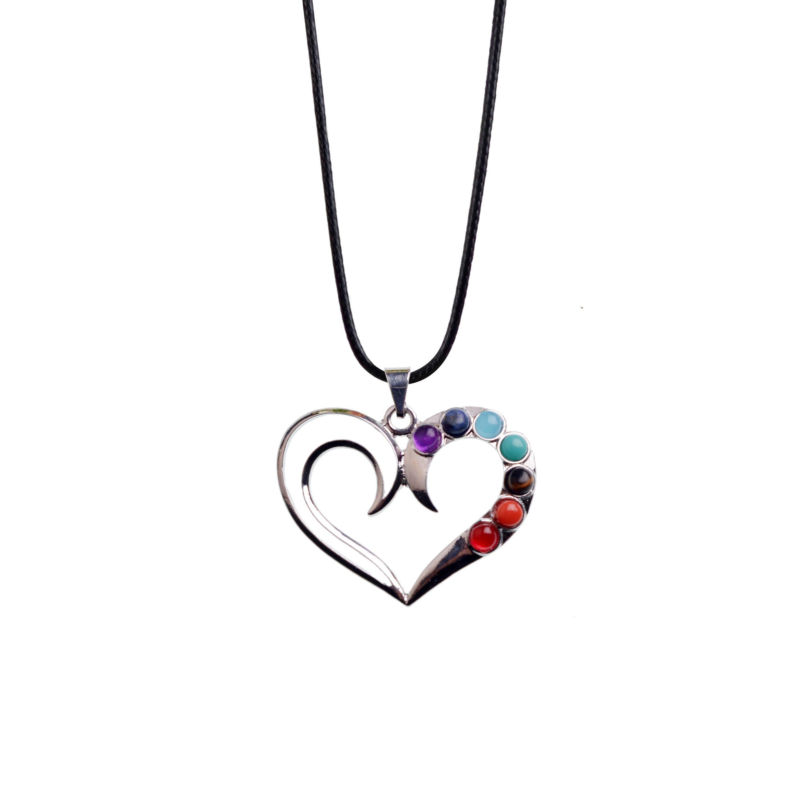 8bf63c7bd8c84 Seven chakra gemstone handmade heart necklace ladies winter sweater  exquisite necklace