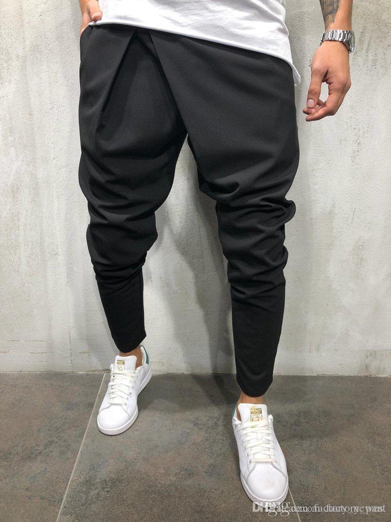 ebc6b6fea1 Compre Nueva Moda Para Hombre Pantalones Pitillo Slim Fit Joggers Jogging  Inferior Algodón Gimnasio Pantalones Bolsillos Casual Pantalones De Calidad  ...