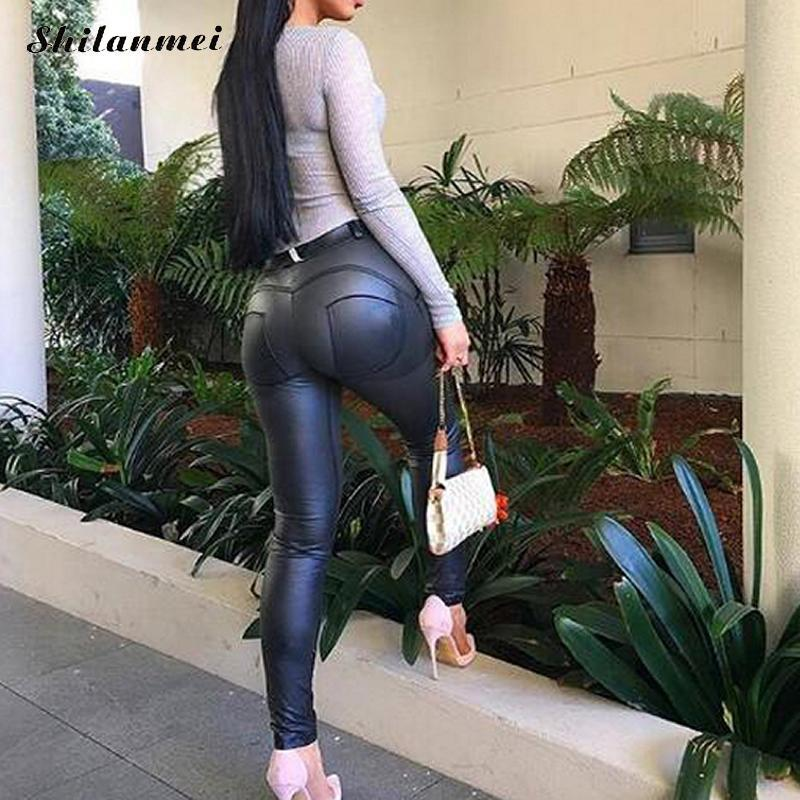 2019 Pu Leather Low Waist Leggings Women Sexy Hip Push Up Pants Legging  Jegging Gothic Leggins Jeggings High Fashion Skinny From Vanilla06 d795af4af