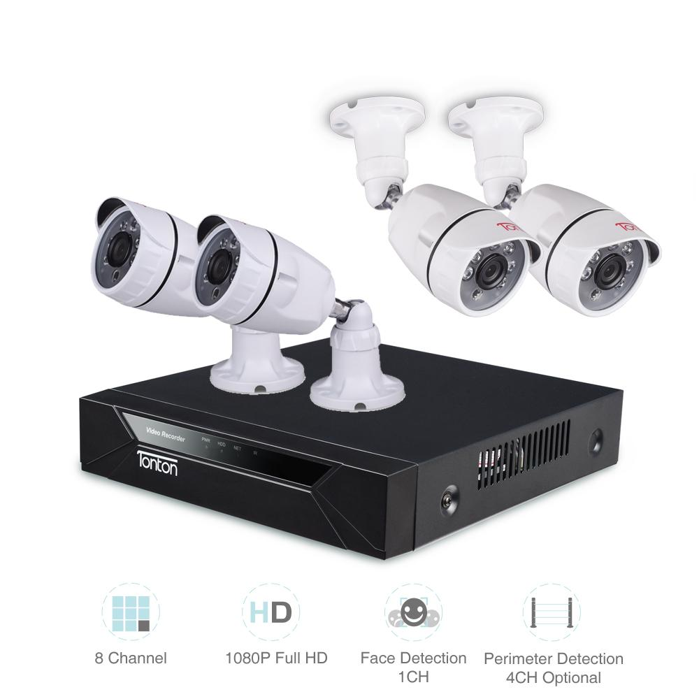 Tonton 8CH 1080P HD 5-in-1 DVR Kit Video Surveillance CCTV System 4*1080P  2 0MP Outdoor Indoor Security Camera System IR-LED P2P