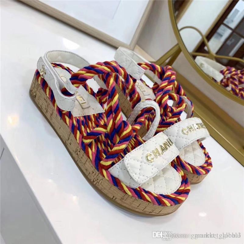 New Women sandals Cord Luxury Designer Sandals Multicolor and ivory White and black Sandals Leather Belt box