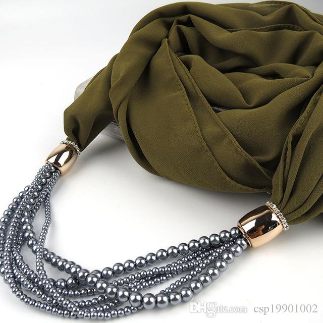 Fashion Women pearl beads Pendant Scarf Chiffon Jewelry Scarf Women's Scarves Solid Color Jewelry Shawl
