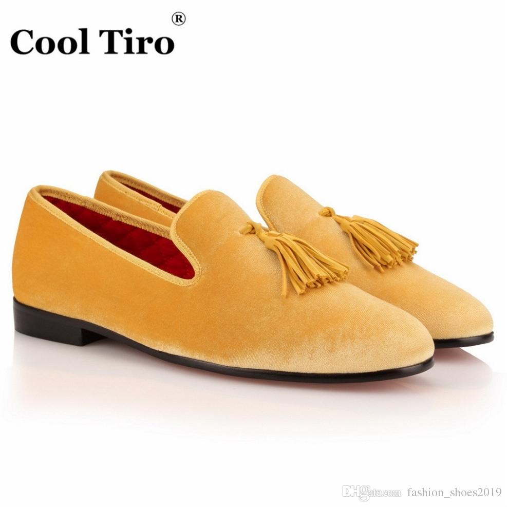 0f5fc222de243 COOL TIRO Luxury Fashion Yellow Tassel Mens Velvet Loafers Shoes Men Party  Wedding Dress Shoes Men's Smoking Slippers Flats #115665