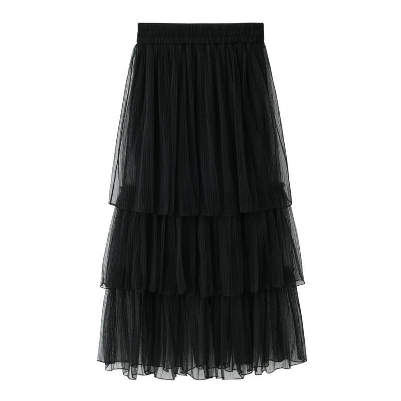 388d8d56be4 New Summer Skirt Women Tulle Maxi Skirts Black Gray Mesh Puffy Pleated  Layers Tiered Long Sweet Saias Femininas Online with  24.74 Piece on  Raoken s Store ...