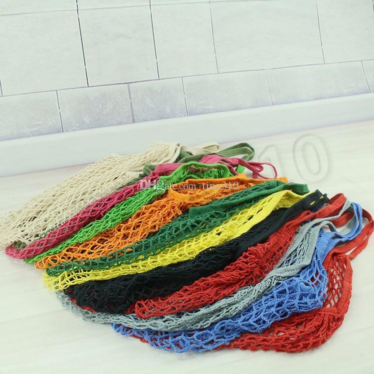 Reutilizáveis compras Grocery Bag Tamanho Grande Shopper Tote malha Net tecido de algodão sacos portátil sacos de armazenamento Bag T2I5762-1