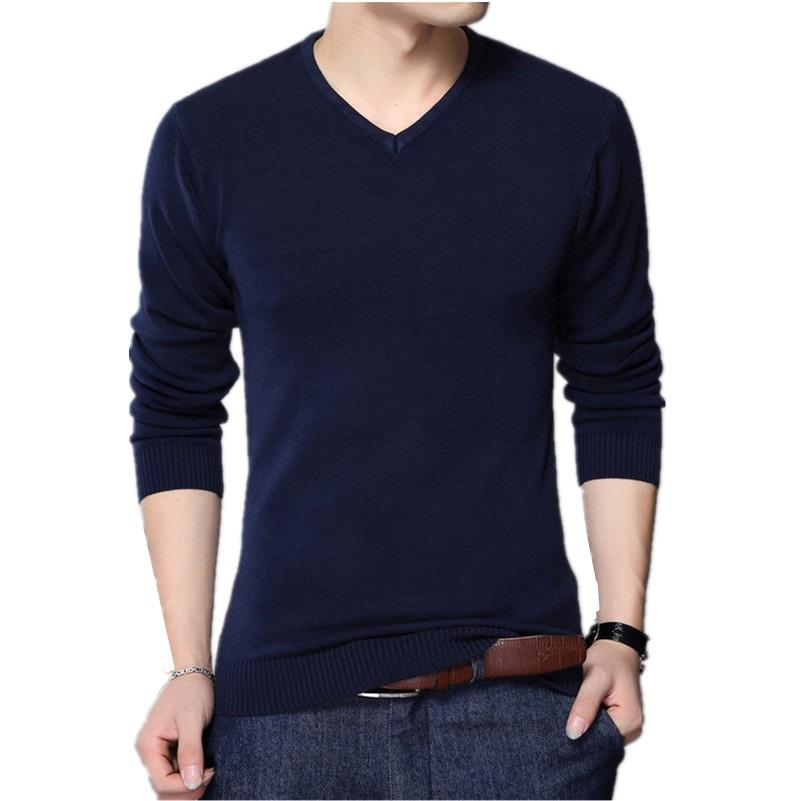 2018 Autumn Casual Winter Men Sweater V-neck Fashion Mens Pullover High Quality Knitting Sweaters Men Sweater