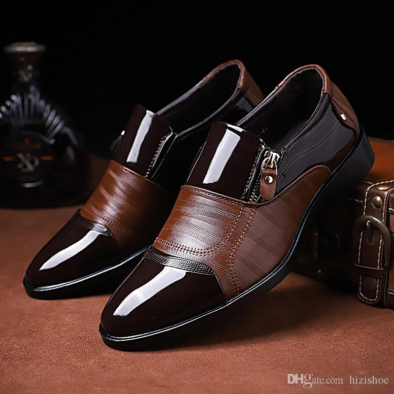 22a3269e79a5 British Style Mens Dress Shoes Black Brown Wedge Heel Wedding Footwear  Leather Formal Shoes For Men Big Size US10 US11 US12 US13 Silver High Heels  ...
