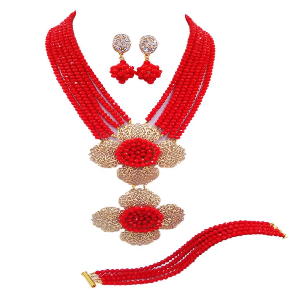 67566b3fa6e5 Compre Opaco Rojo Africano Conjunto De Joyas Collar De Nigeria Perlas De  Cristal Accesorios De Boda Joyería Del Partido Regalos 6LDH05 A  48.06 Del  ...