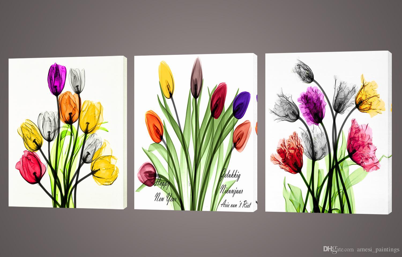 Satın Al çerçevesiz 3 Parça Duvar Sanatı Boyama Lale şeffaf çiçek