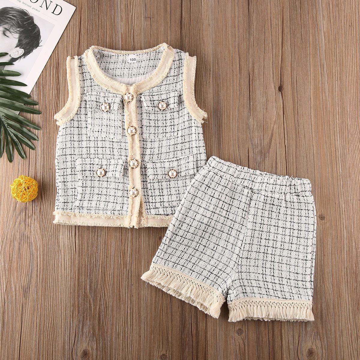 bébé enfant en bas âge fille deux pièces ensemble Gilet sans manches shorts manteau enfants enfants fille vêtements set costume