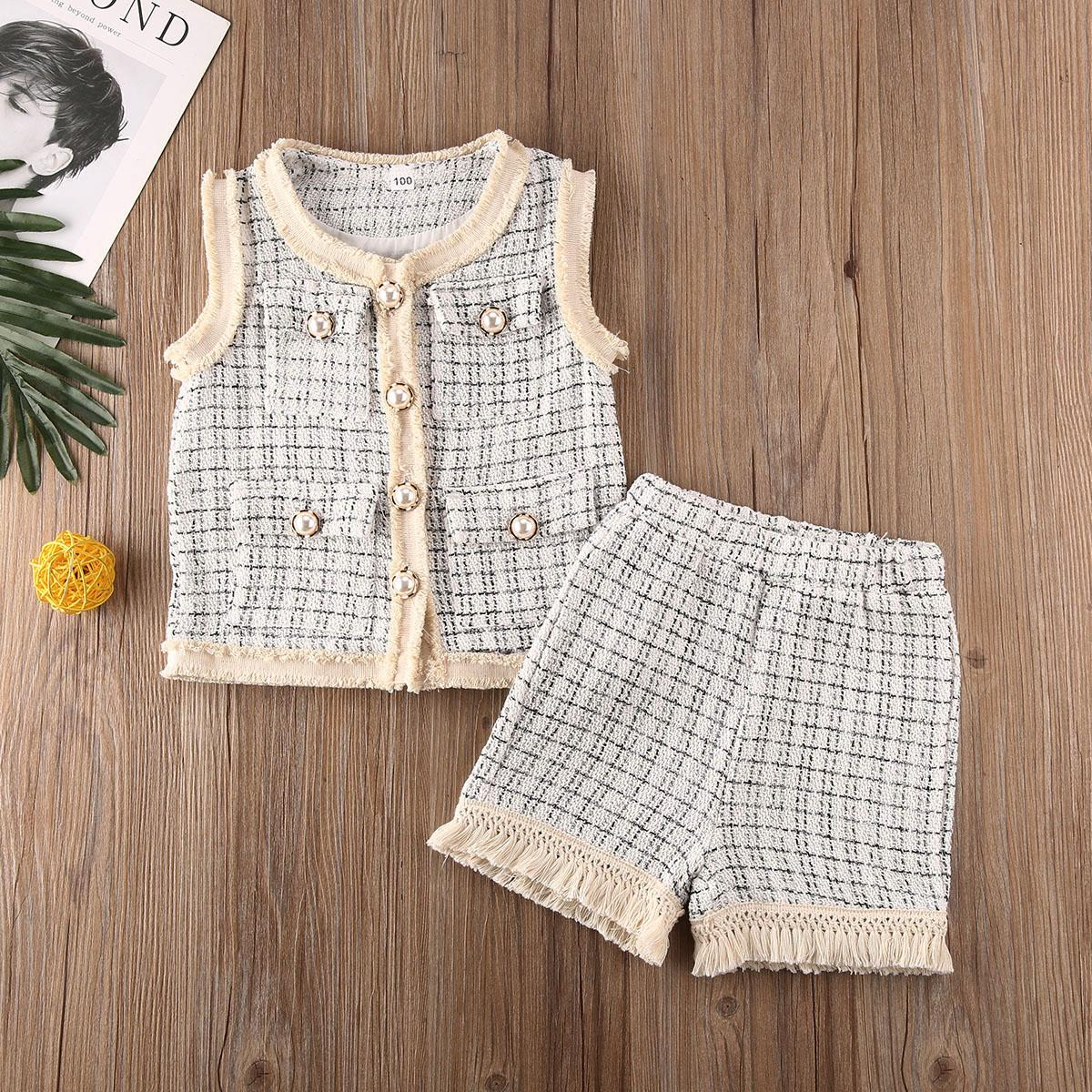 Kleinkind-Baby zwei Stücke Satz sleeveless Westemantel Kurzschlusskindkindmädchenklagesatz Kleidung