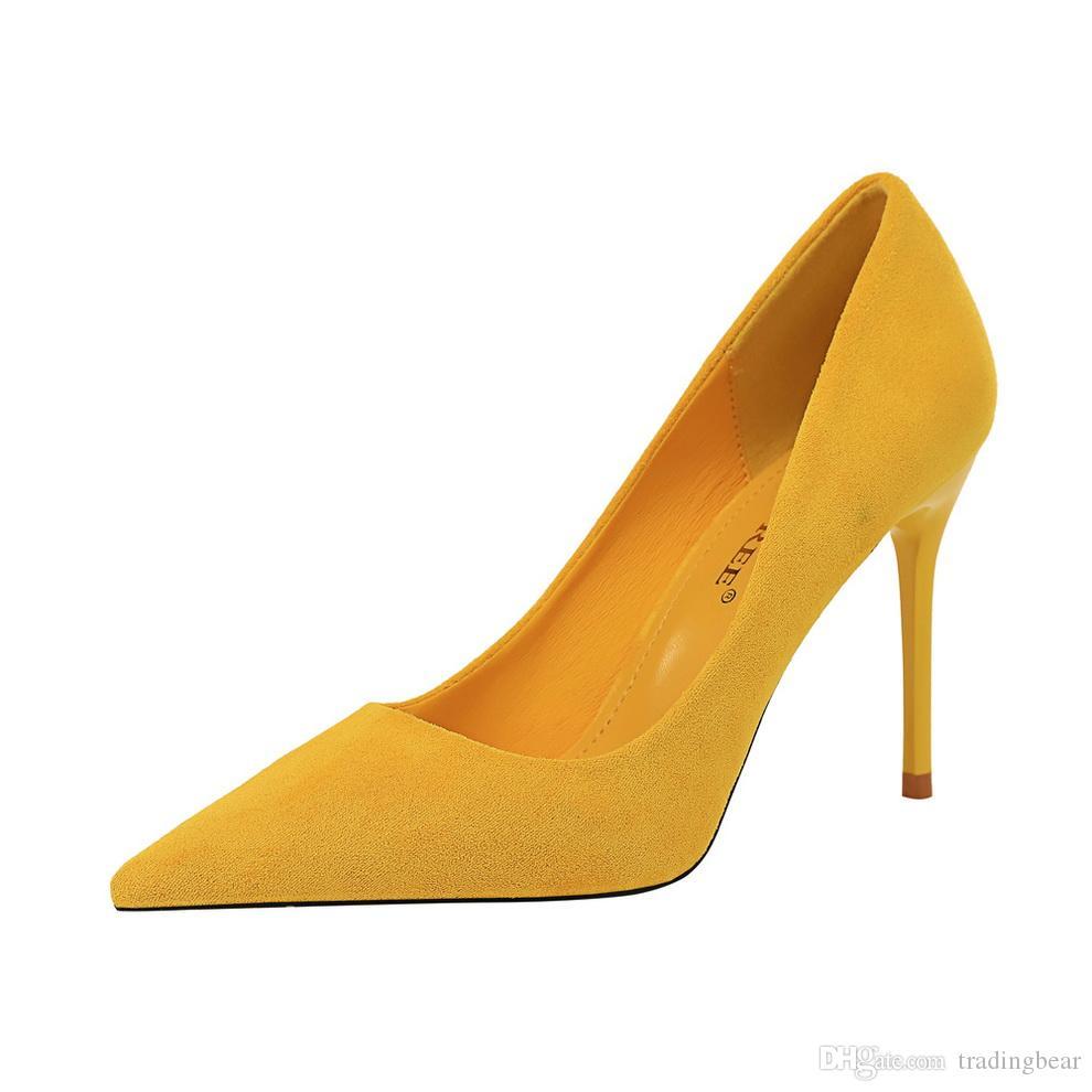 Plus la taille 34 à 40 41 42 43 chaussures robe talon aiguille orteil pointu femmes couleur unie pompes design avec boîte