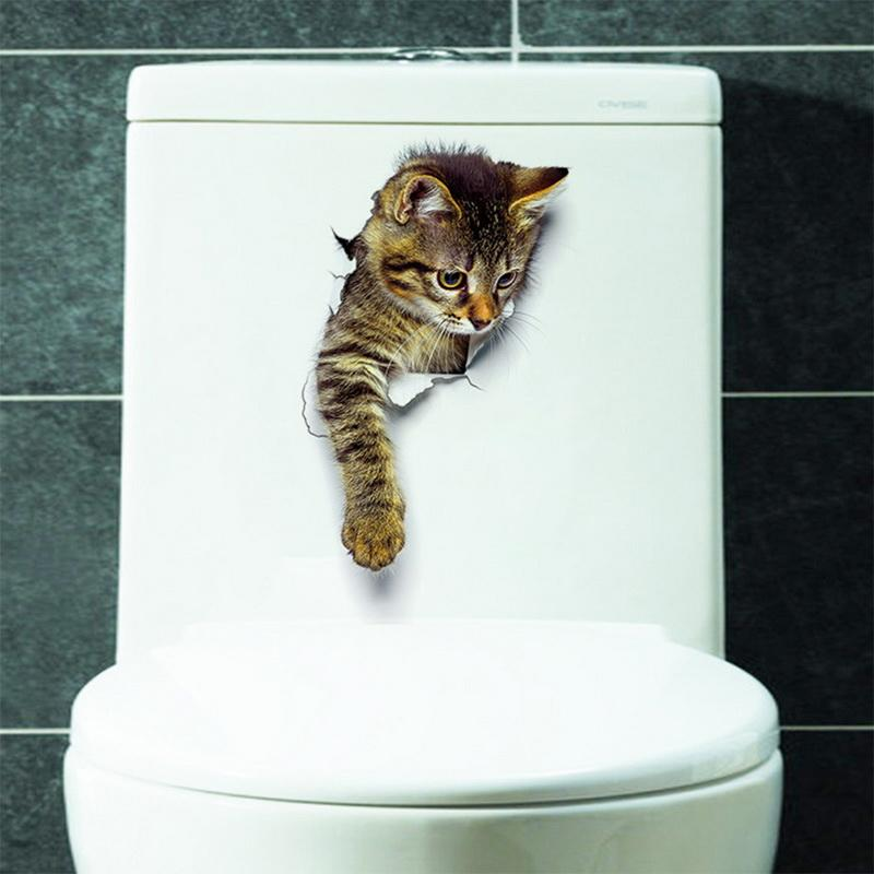 Hoomall Removable 3D Wall Stickers Cat Dog PVC Refreigter Poster Stickers Toilet Seat Wall Sticker Bathroom Kitchen Home Decals