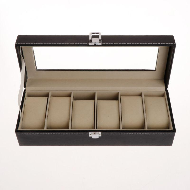 Watch Box Storage Package Organizer Case Jewelry Display 5 Slots Grids High End Faux Leather Square Luxury Watches Gift Boxes