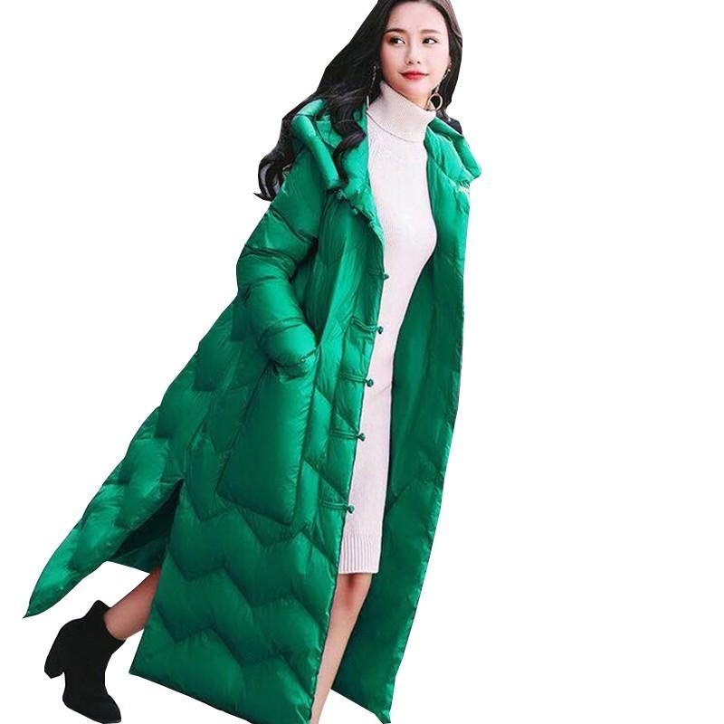 2debf36ed2f Winter Cashmere Hooded Retro Buckle Long Down Jacket Slits Slim Warm Large  Pocket Plus Size Feather Overcoat Chaqueta Mujer L245