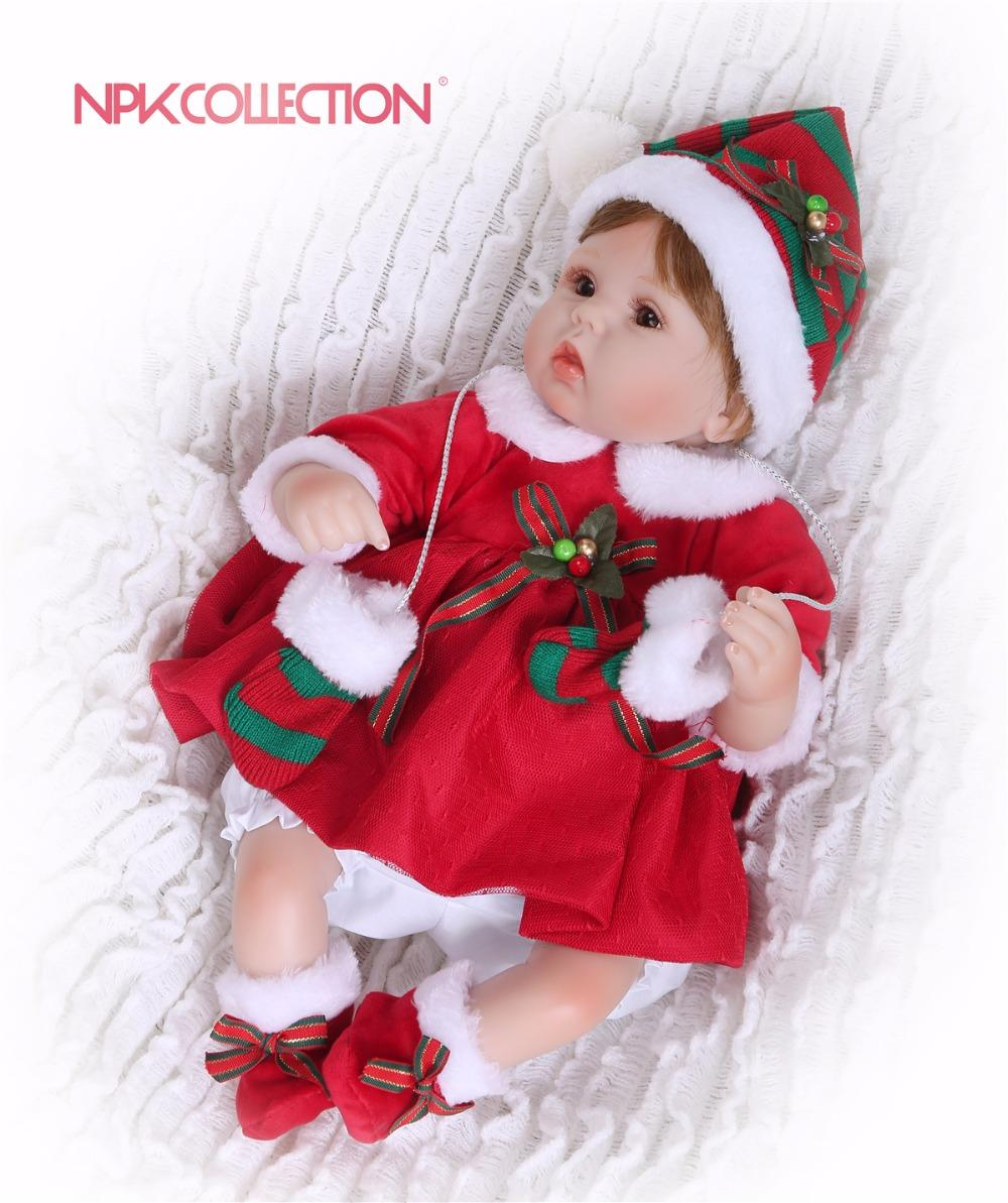 NPK 40CM New Handmade Silicone vinyl adorable Lifelike toddler Baby Soft Toys Baby Alive For Bebe Reborn the best Xmas gift