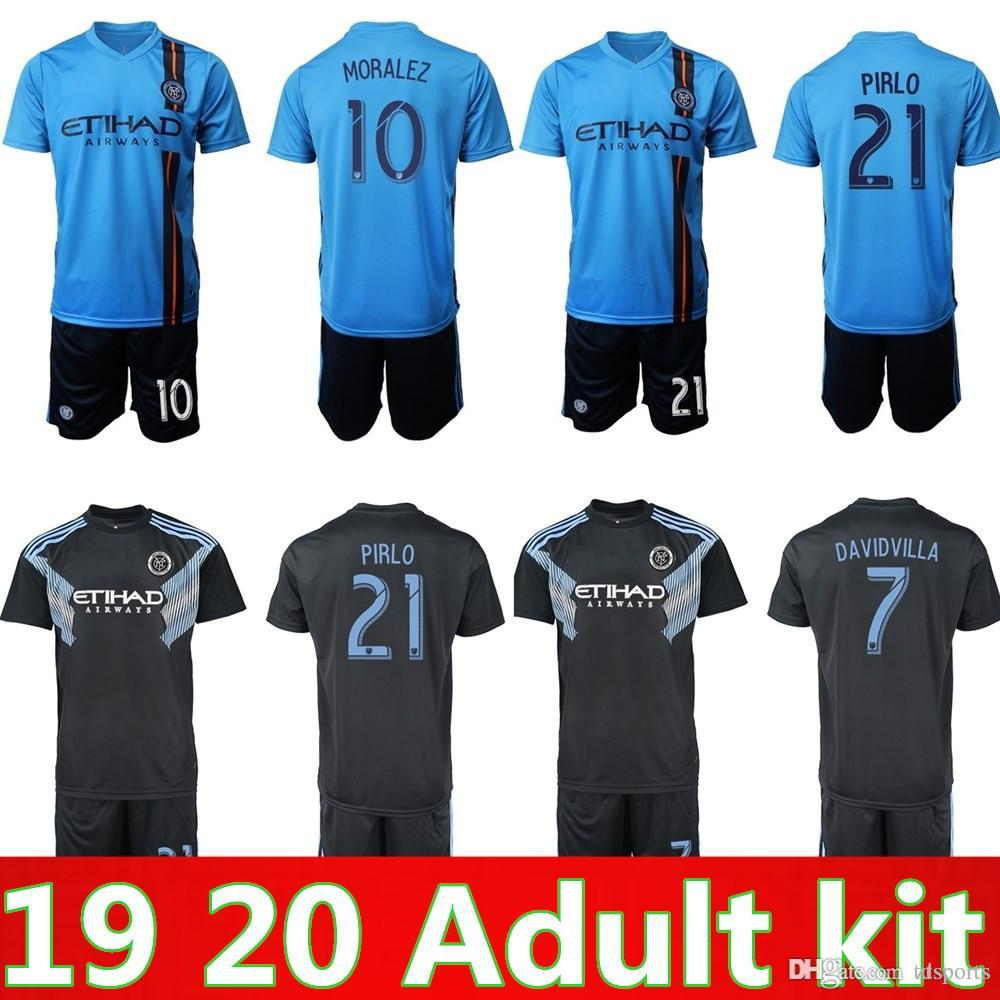 wholesale dealer 79ff0 b43b3 18 19 Season FC MLS New York City Soccer Jersey Set 8 Frank Lampard 21  Andrea Pirlo 10 Maximiliano Moralez Football Shirt Kits