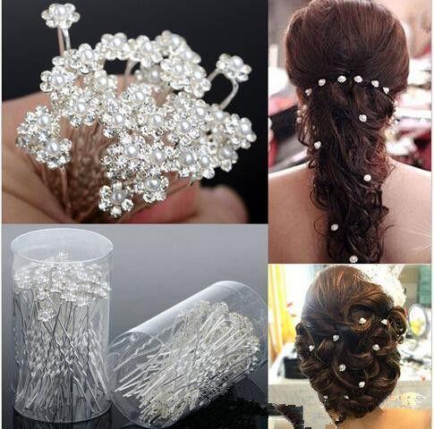 35019d8fd4 2019 Bling Wedding Accessories Bridal Pearl Hairpins Flower Crystal 10PCS  Rhinestone Hair Pins Clips Bridesmaid Women Hair Jewelry