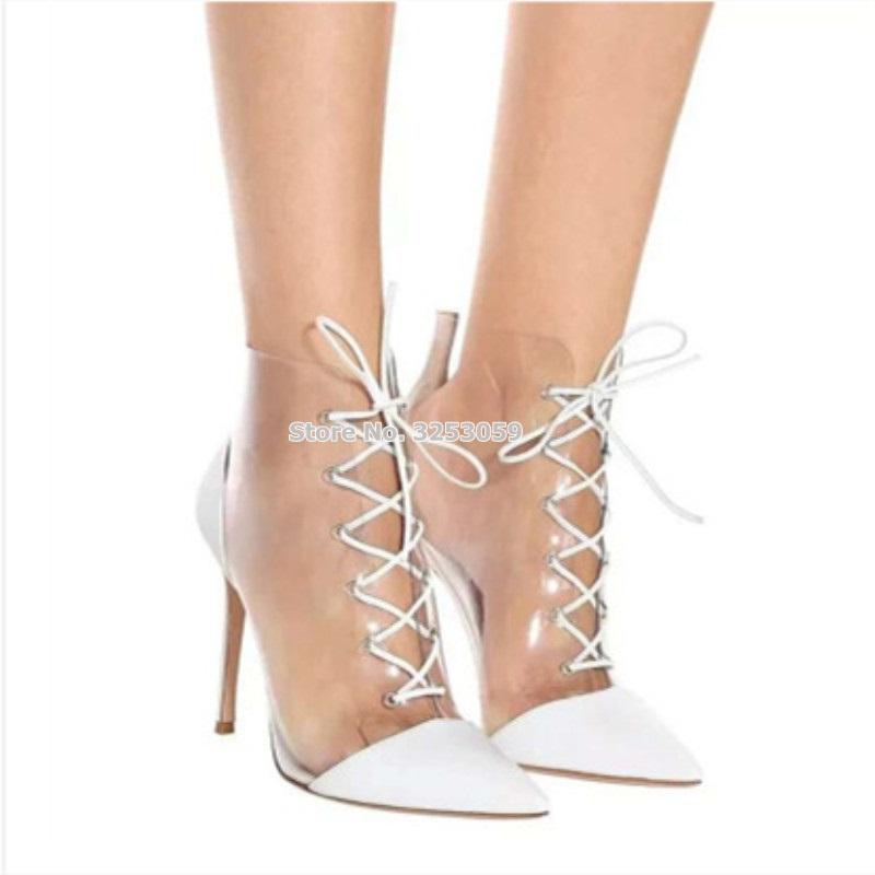 c7898d0e508 ALMUDENA Women White Pointed Toe Clear PVC Patchwork Ankle Boots Stiletto  Heels Lace-up Mixed Color Short Booties Dress Shoes