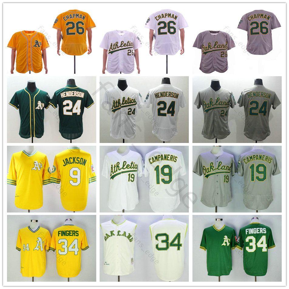 factory price 55858 b585a Stitched Oakland 26 Matt Chapman Jersey Athletics 9 Reggie Jackson 19 Bert  Campaneris 34 Rollie Fingers 24 Rickey Henderson Baseball Jerseys