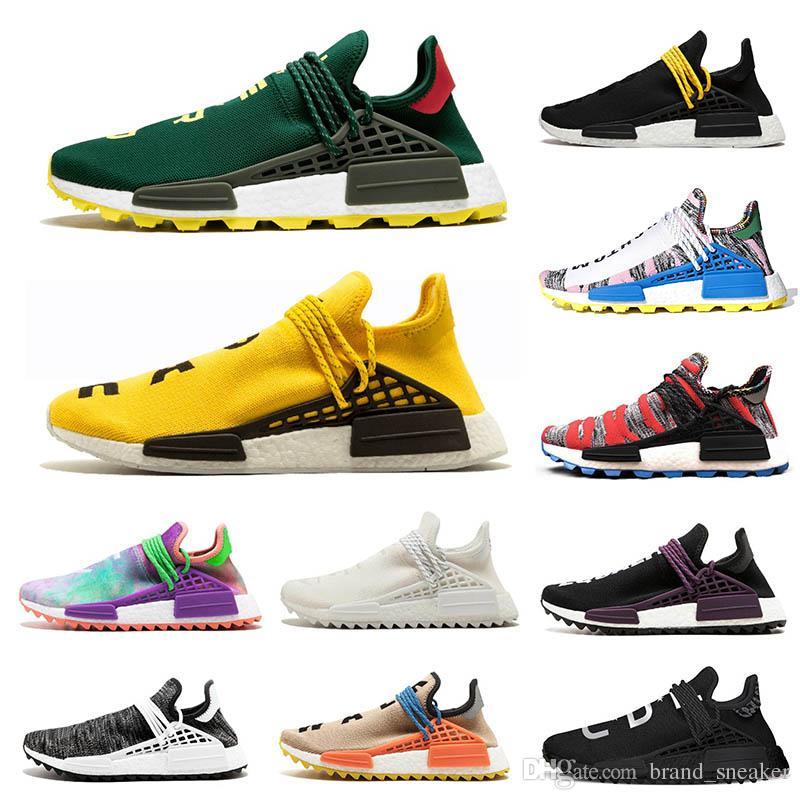 new concept 9ba74 82928 Compre Pharrell Williams Human Race NMD Hu Trail Para Mujer Zapatillas De  Deporte De Moda Para Hombre Verde Amarillo Hombres Negros Zapatos Para  Correr NERD ...