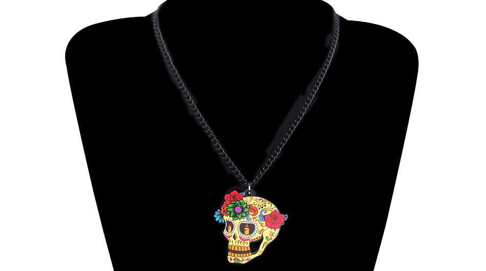 Bonsny Acrylic Halloween Flower Retro Skull Earrings Necklace Fashion Jewelry Sets For Women Girls Costumes Decorations Bijoux
