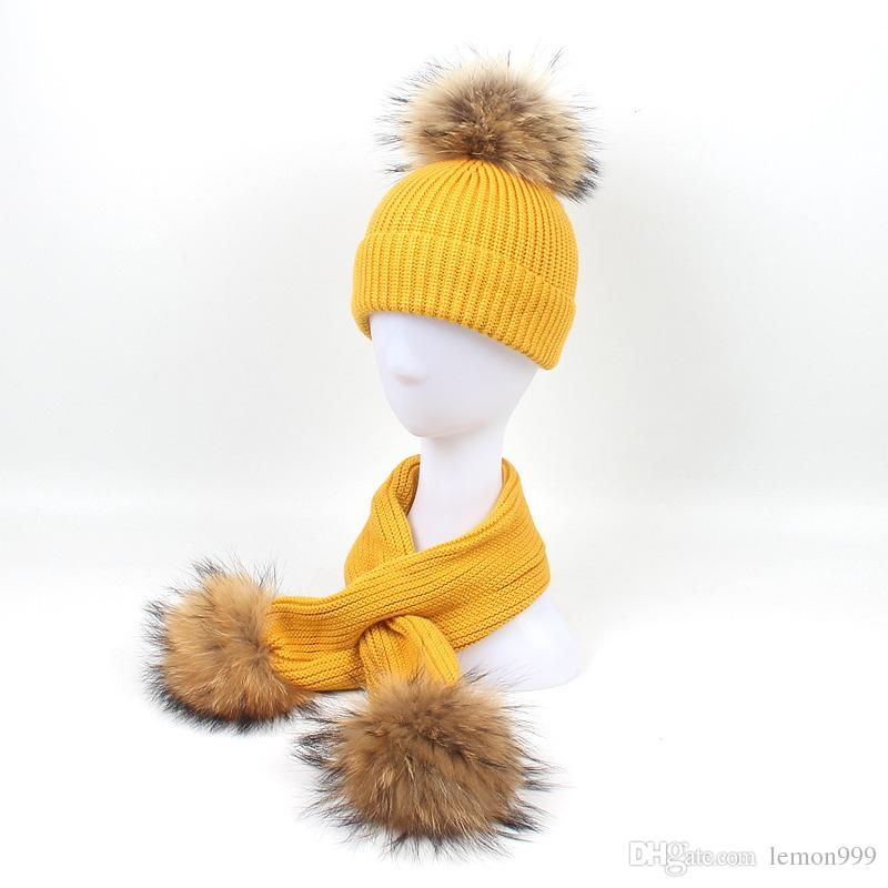 01f615e9cd356 Winter Baby Girls Beanies Boys Hats Real Raccoon Knitting Hat Scarves Set  With Fur Pompom Ball Caps Children Hats Kids Warm Beanie Suits Crochet  Beanie ...