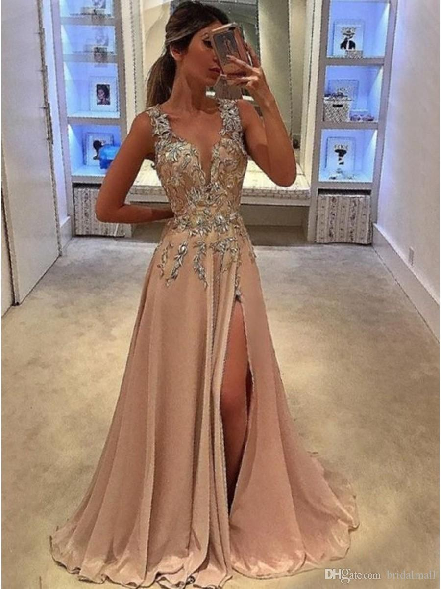 Deep V Neck Blush Pink Chiffon Long Prom Dresses with Appliques Sexy Side Slit Formal Evening Dresses Cheap Sleeveless Party Pageant Gowns