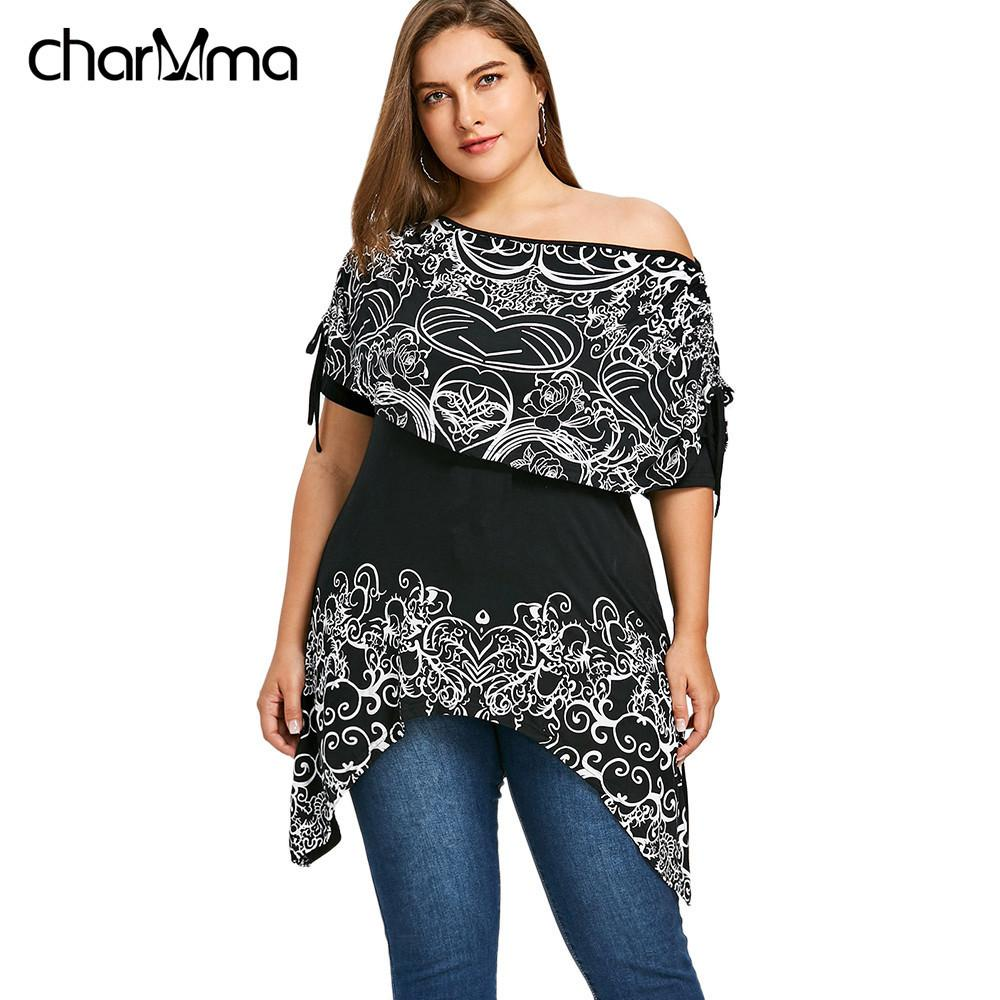 a55e3a671 2019 Plus Size Women Bandana Floral Skew Collar Capelet Long T Shirt Summer  Fashions Causal Streetwear T Shirts Top Female C19041702 From Xiao0002, ...