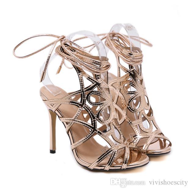 3b8d6302374 New Black Ankle Wrap Gladiator Sandals Gold Heel Women Designer Shoes Size  35 to 40 Designer Women Heels Luxury Heels Shoes Women High Heels Online  with ...
