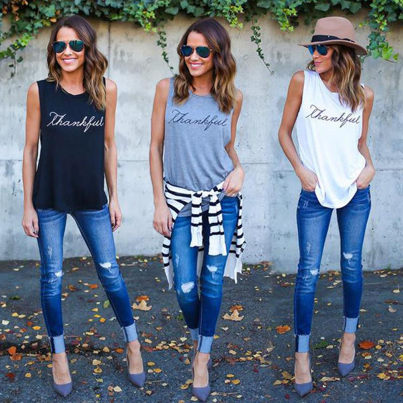 03983897fd1e New Fashion Casual Women T-shirts Plus Size Sleeveless 2017 Summer Rock  Punk Style Letter Loose Female T-shirt Black White Tops Online with   25.95 Piece on ...