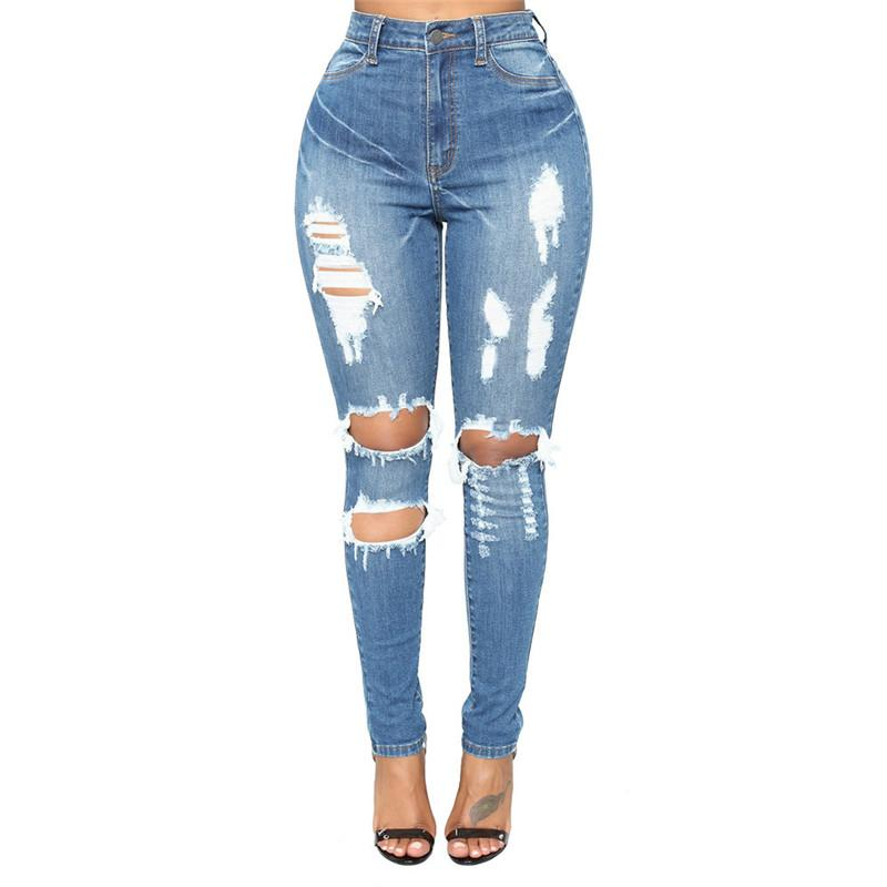 3ddba5afe6f 2019 New Ultra Stretchy Blue Tassel Ripped Jeans Woman Denim Pants Trousers  For Women Pencil Skinny Jeans From Dartcloth, $55.6 | DHgate.Com